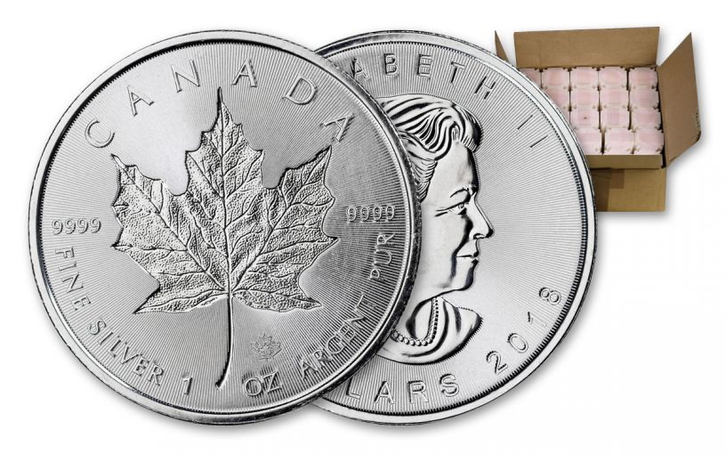 2018 Canada 1-oz Silver Incuse Maple Leaf BU Monster Box
