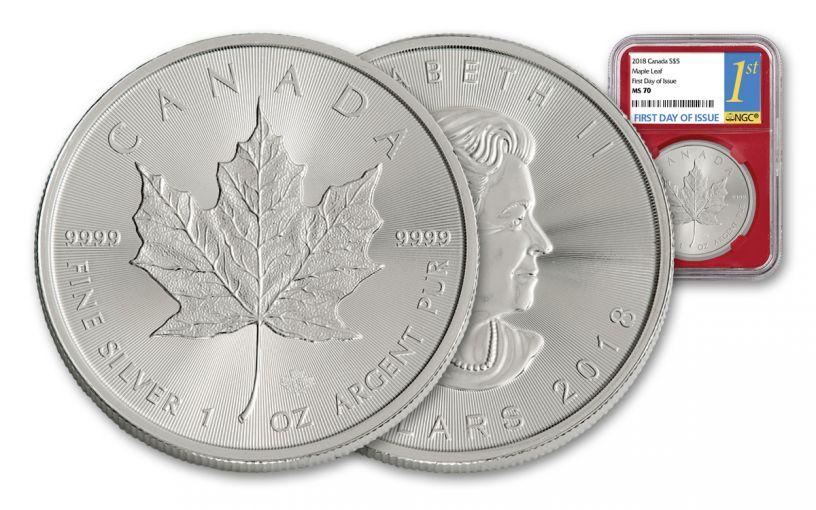 2018 Canada 5 Dollar 1-oz Silver Maple Leaf NGC MS70 FDI- Red