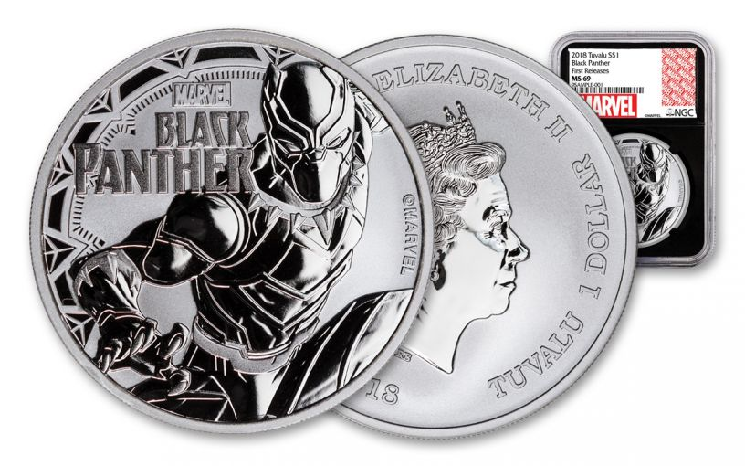 2018 Tuvalu 1 Dollar 1-oz Silver Black Panther NGC MS69- Black Core- First Releases