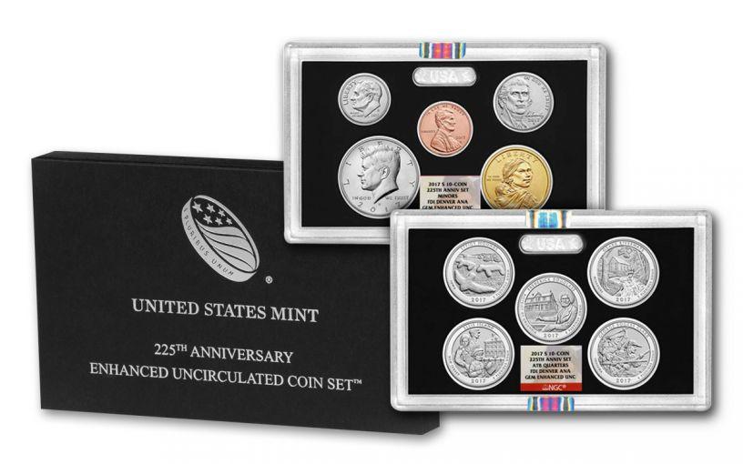 2017 225th Anniversary Enhanced UNC Coin Set NGC GEM FDI