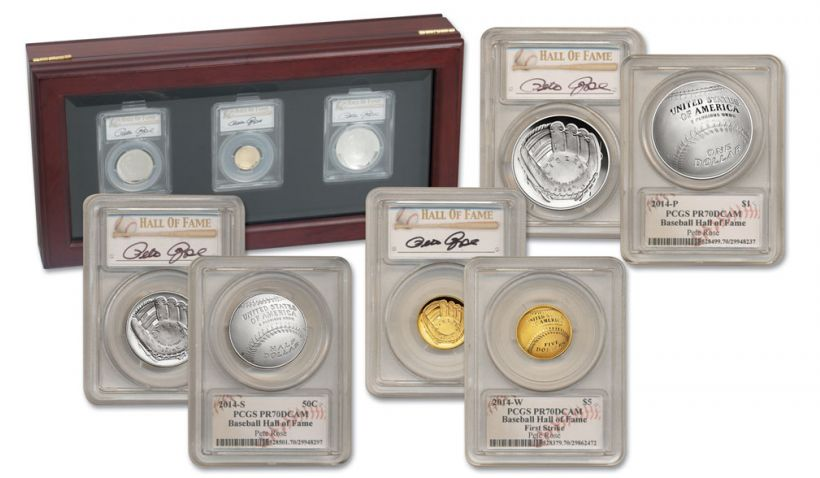 2014 Baseball Hall of Fame PCGS PR70 Pete Rose Signed 3pc