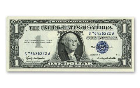 93 Value 1957 Silver Certificate Dollar Bill