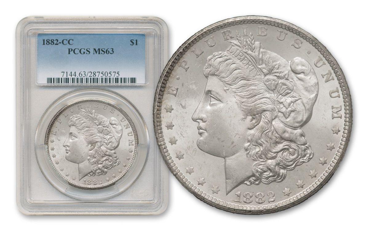 1882 1884 Carson City Morgan 3 Silver Dollar Set Pcgs Ms63