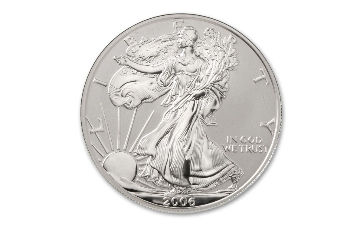 2006 1 Dollar 1 Oz Silver Eagle Reverse Proof Ngc Pcgs
