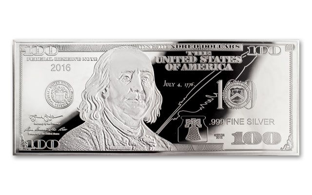 2016 100 Dollar Bill 1 Oz Silver Franklin Proof Govmint Com