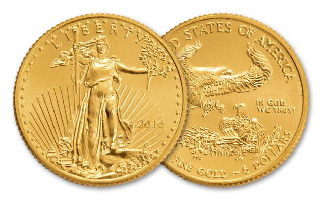 2016 5 Dollar 1 10 Oz American Gold Eagle Bu Coins