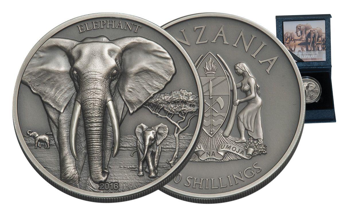 2016 Tanzania 1 Oz Silver High Relief Elephant Proof