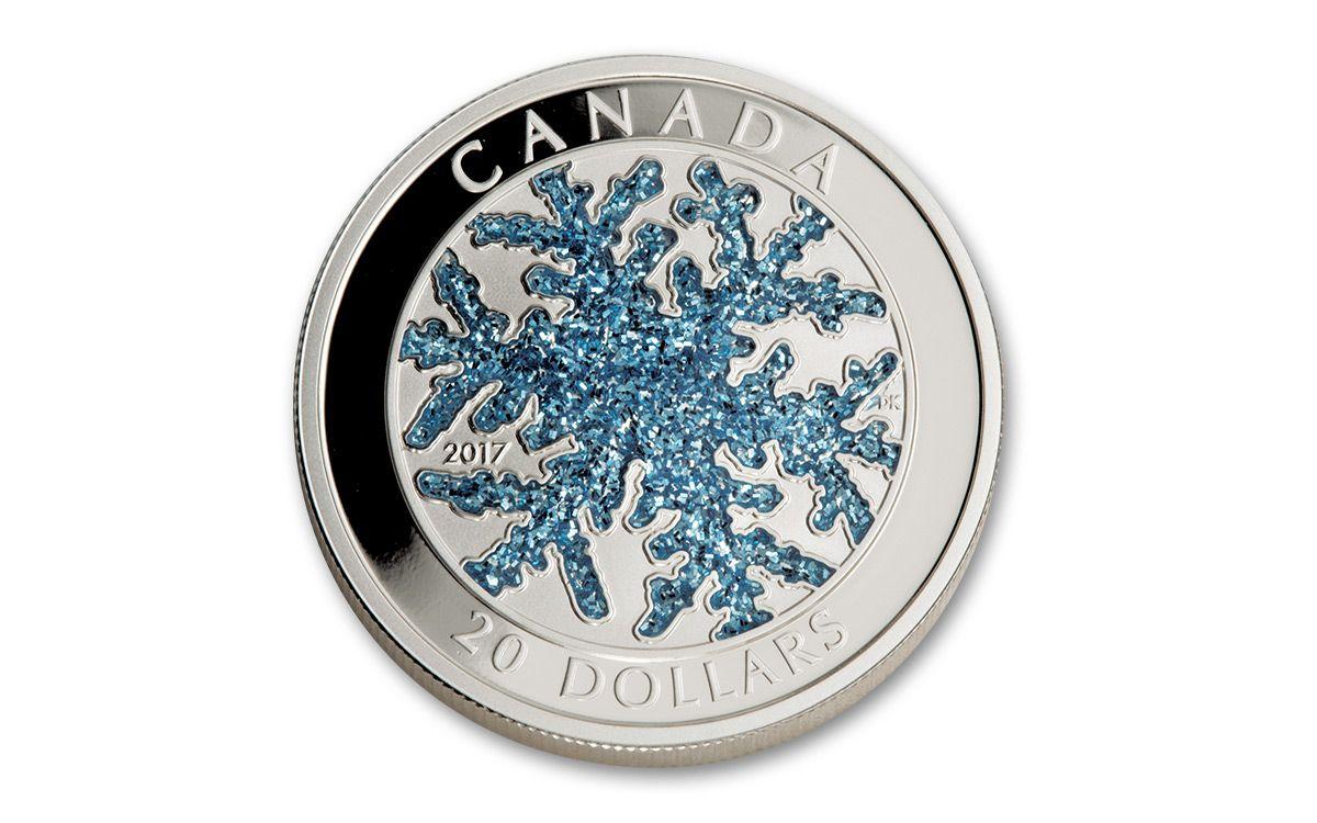 2017 Canada 20 Dollar 1 Oz Silver Snowflake Proof
