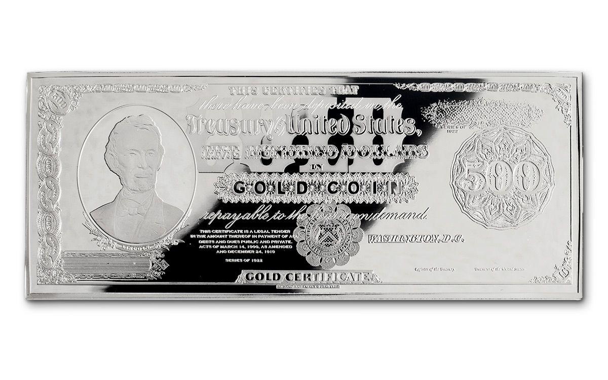 1922 500 Dollar 4 Oz Silver Lincoln Gold Treasury Currency