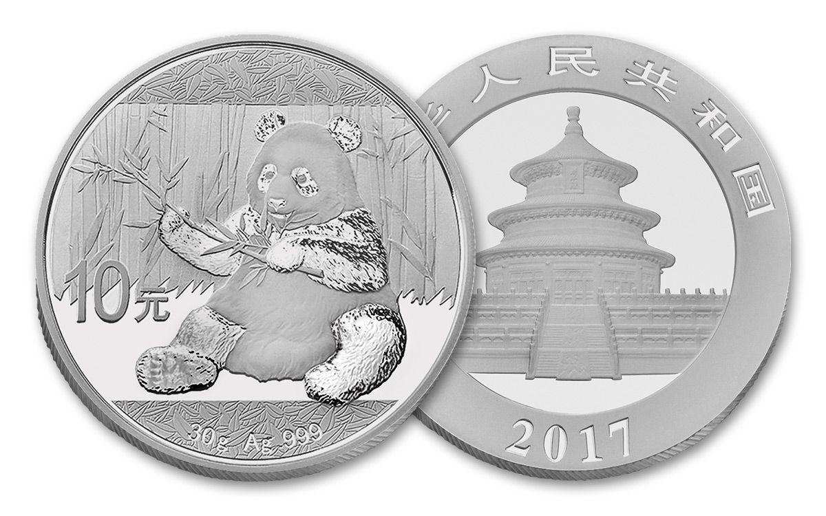 2017 China 30 Gram Silver Panda Brilliant Uncirculated