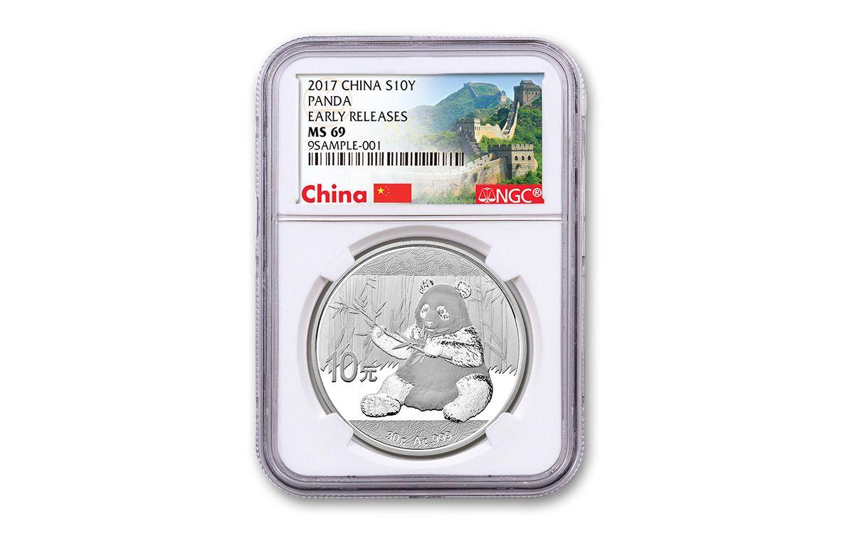 2017 China 30 Gram Silver Panda Ngc Ms69 Er Great Wall