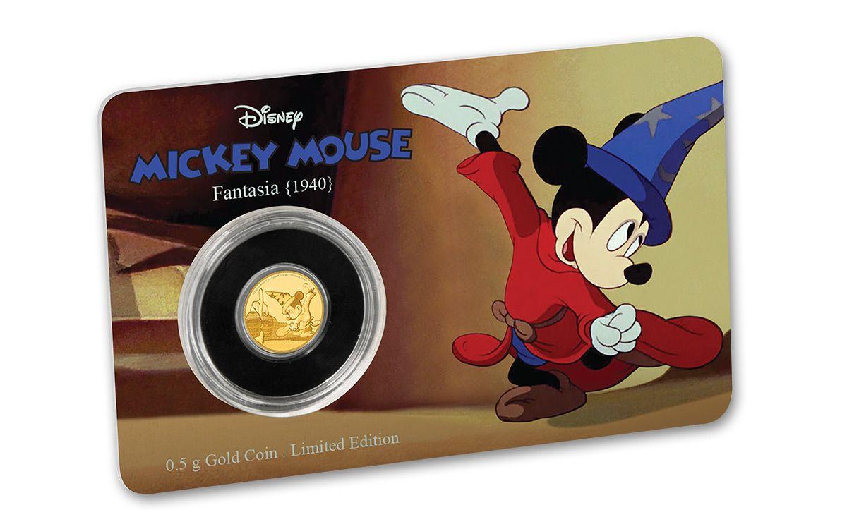 2016 Niue 2 5 Dollar Half Gram Gold Disney Mickey Fantasia