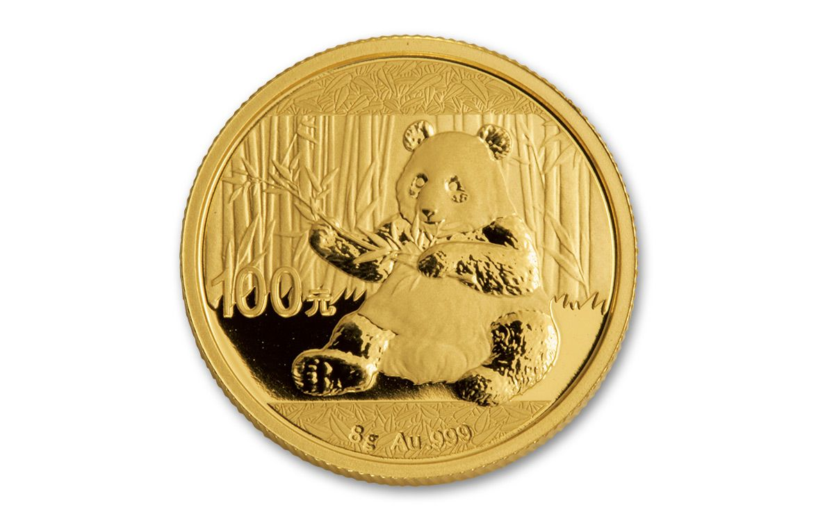 2017 China 100 Yuan 8g Gold Pandas Ngc Ms70 Coins