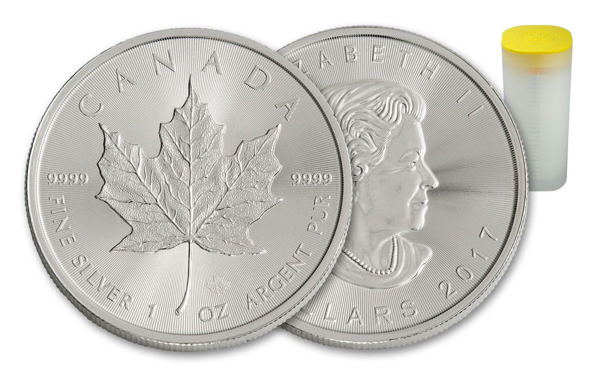 2017 canada 5 dollar 1 oz silver maple leafs 25 coin roll bu