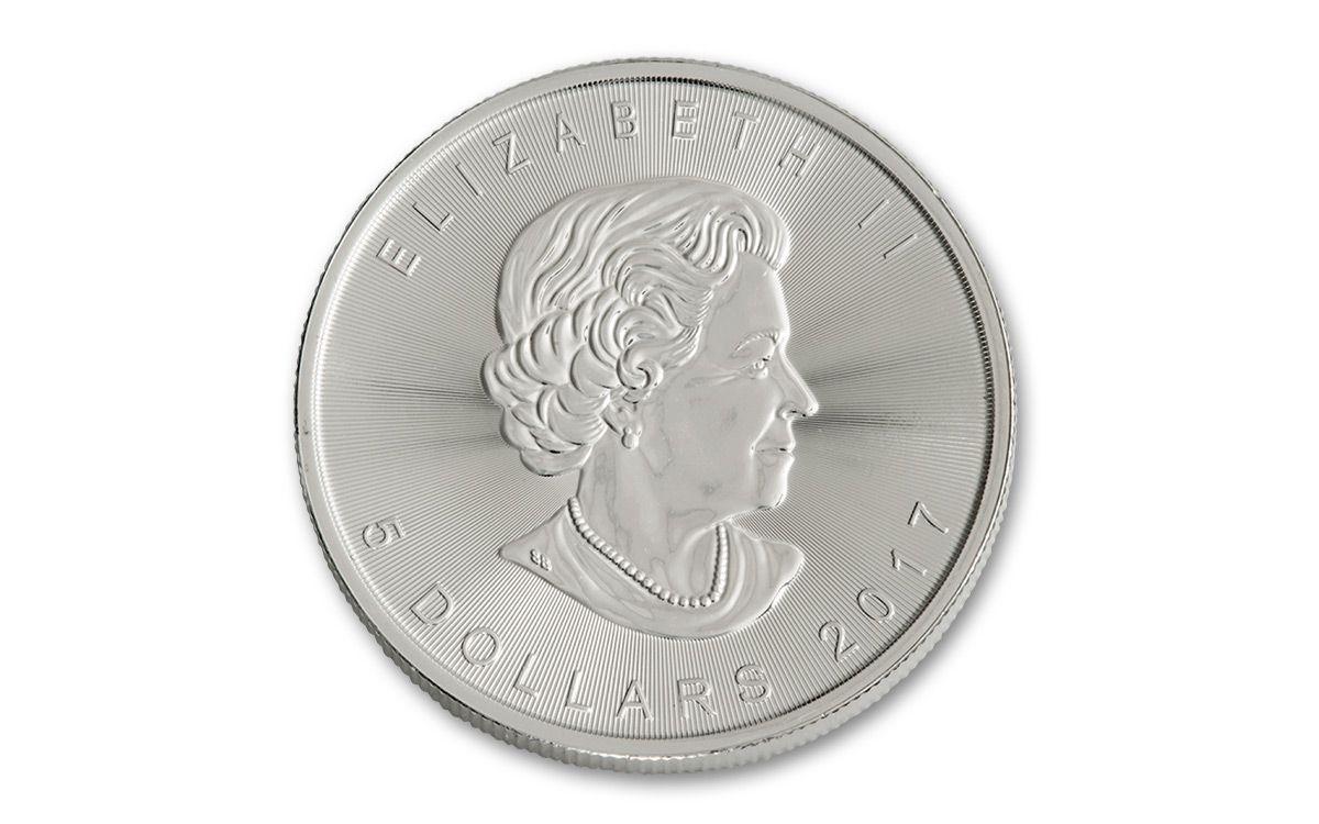 2017 Canada 5 Dollar 1 Oz Silver Maple Leafs 25 Coin Roll