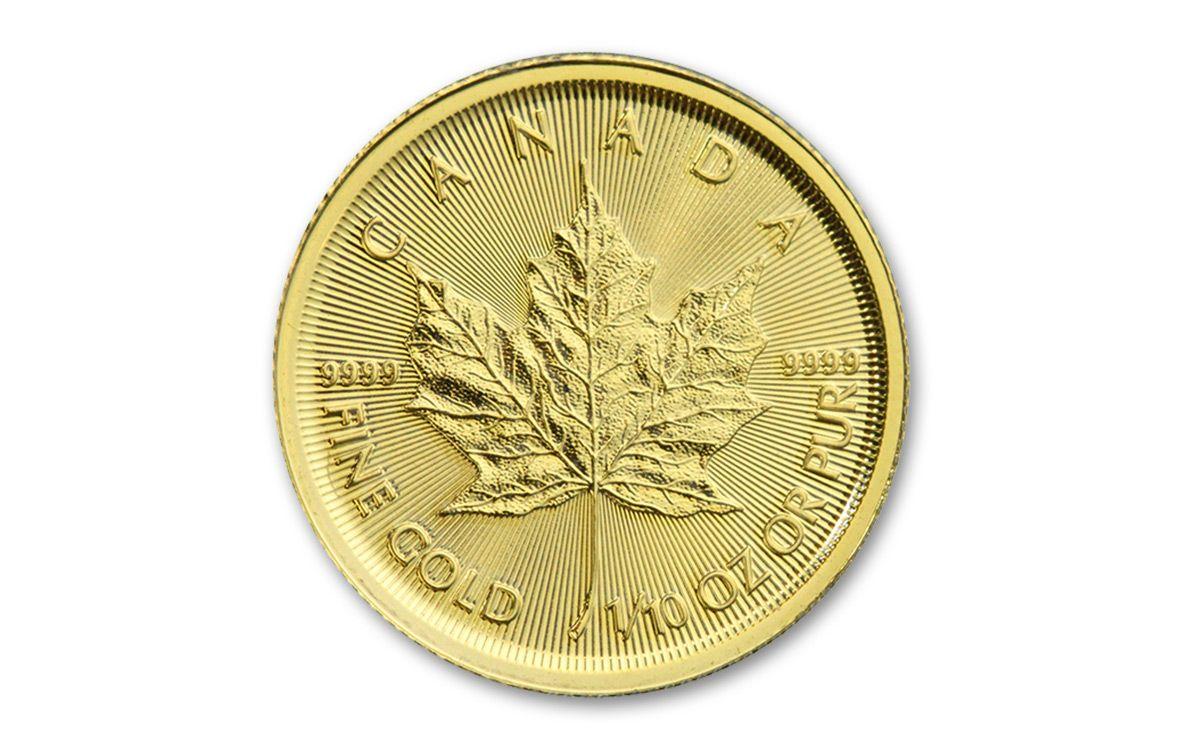 2017 Canada 5 Dollar 1 10 Oz Gold Maple Leaf Bu 40 Coin