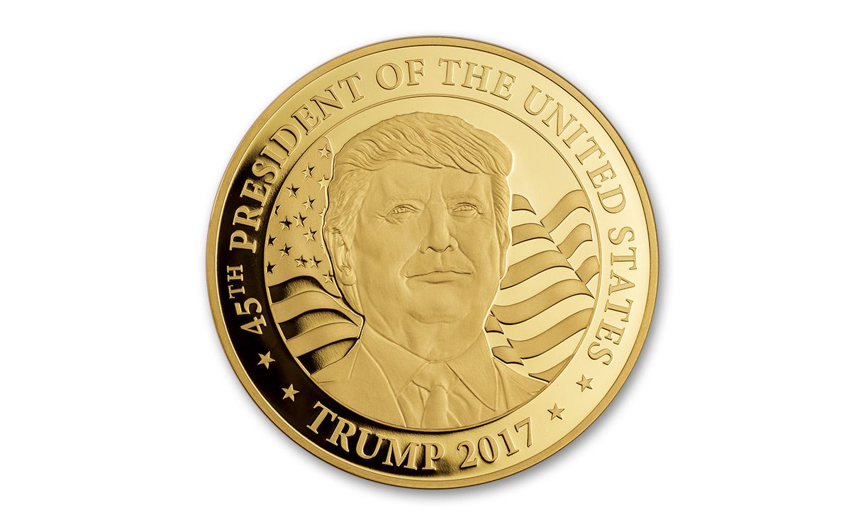 2017 1 Oz Gold Donald Trump Presidential Proof Coin