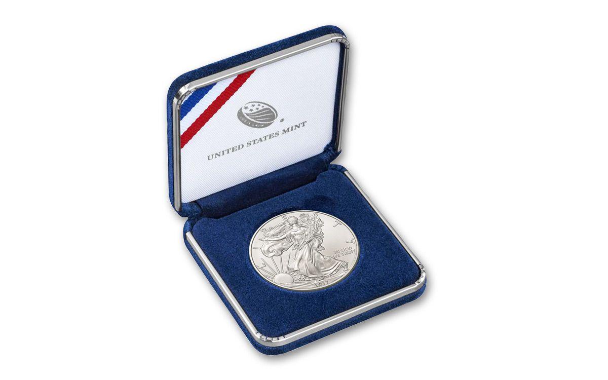 1 dollar 1oz silver eagle bu in us mint box