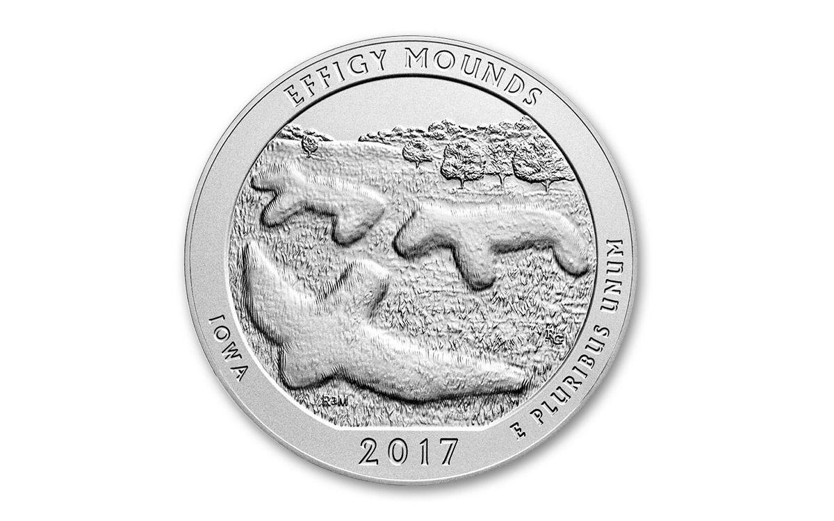 2017 Us 25 Cent 5 Oz Silver Atb Effigy Mounds Coin