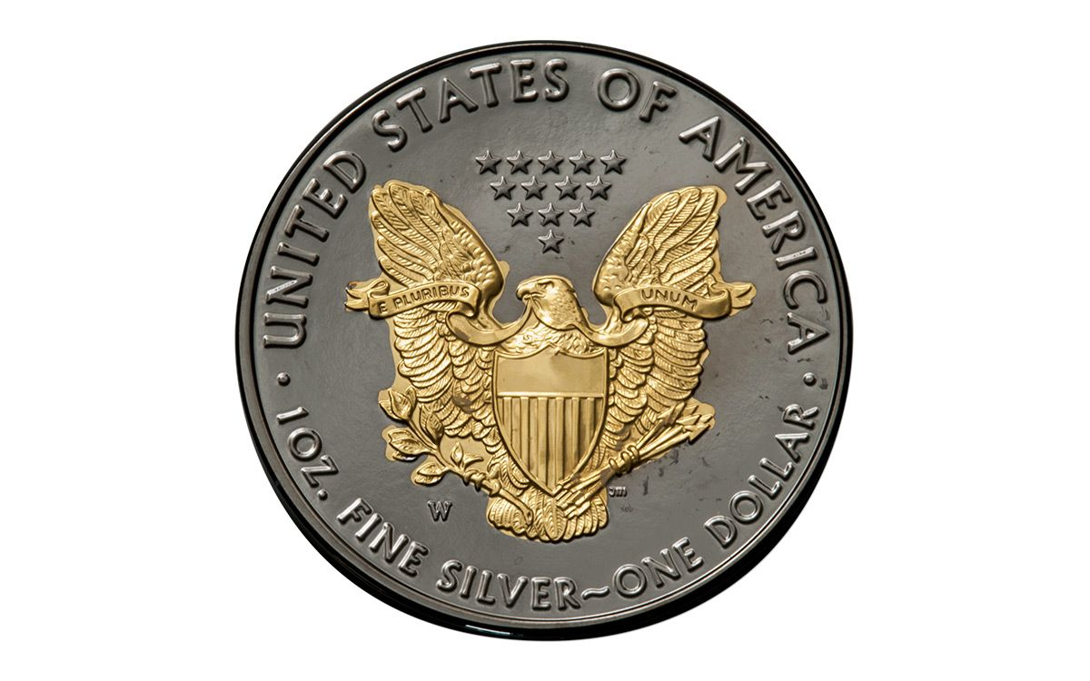2016 Us 1 Oz Silver Eagle Burnished Ruthenium 24k Gold
