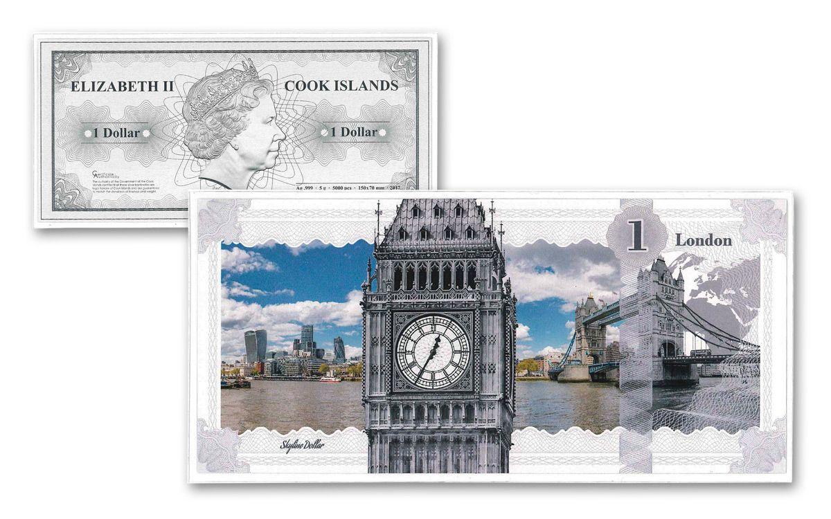 2017 Ck 5 Grams Silver London Skyline Dollar Note