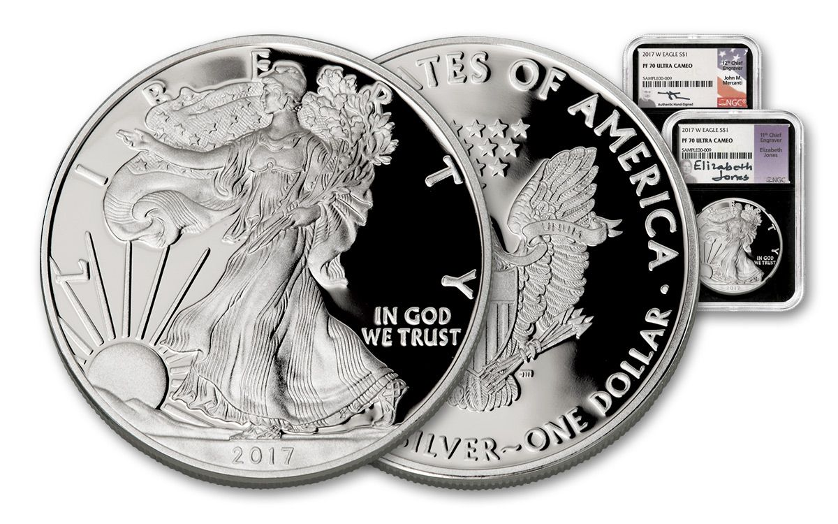 2017 w 1 dollar 1 oz silver eagle proof ngc pf70ucam mercanti jones signed 2 pc set black