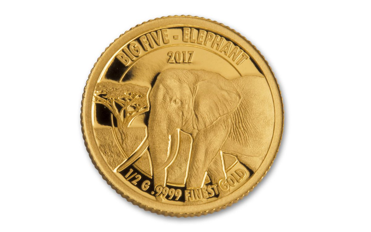 2017 Tanzania Half Gram Gold Big Five Proof 5 Coin Set