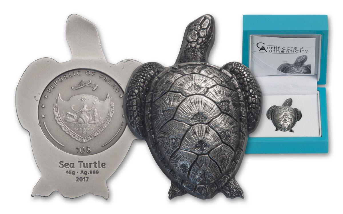 2017 Palau 45 G Silver Antique Sea Turtle Govmint Com