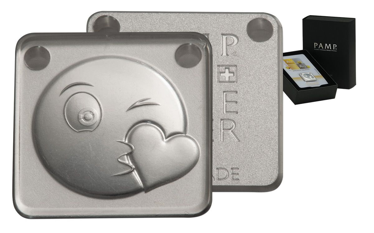 Pamp 10 Gram Silver Emoji Kiss Ingot Pendant Govmint Com