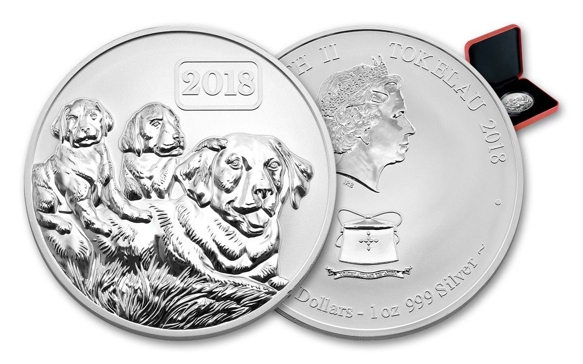 2018 1 Oz Silver Year Of The Dog Labrador Reverse Proof