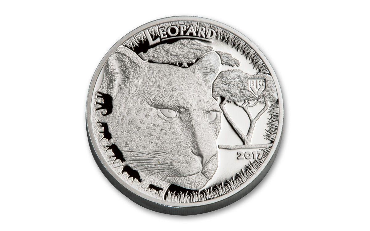 2017 Tanzania 100 Shillings Silver Clad Big 5 Leopard Coin