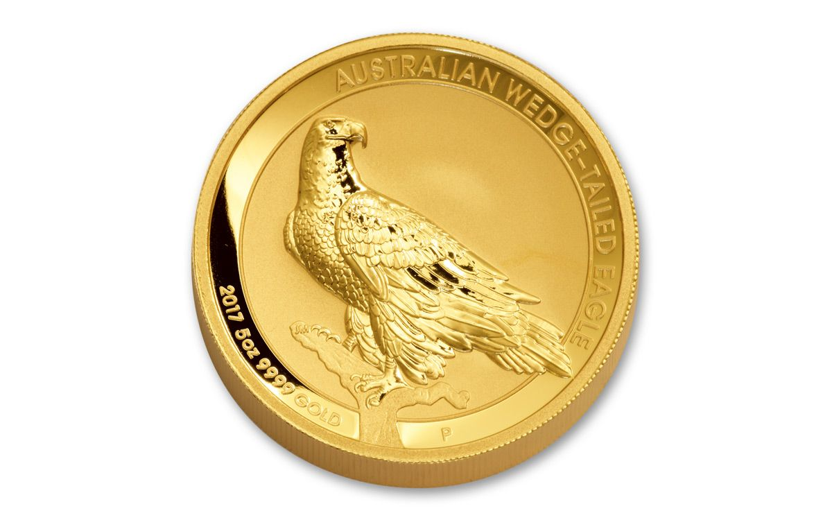2017 Au 5 Oz Gold Wedge Tailed Eagle Hr Reverse Proof Coin