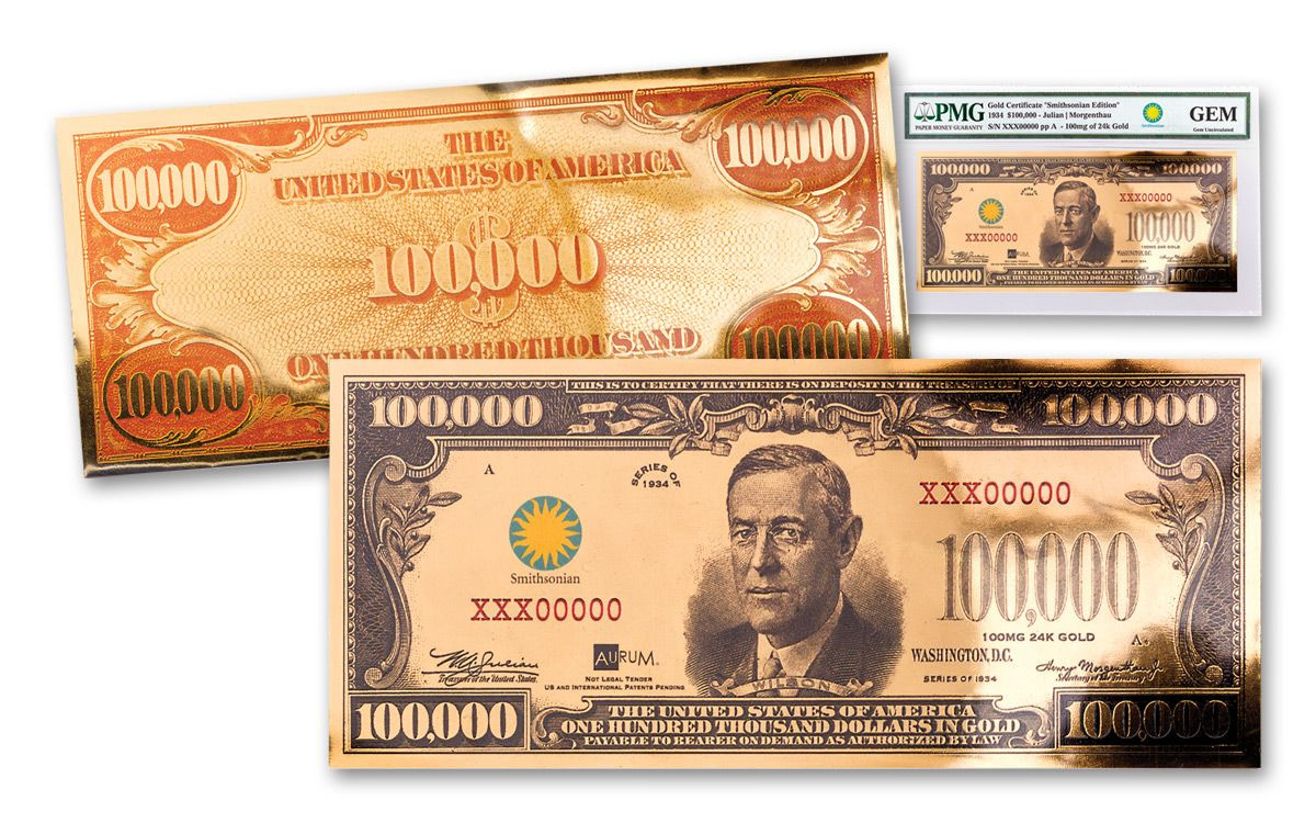 1934 100000 gold certificate currency strike pmg gem unc 1934 smithsonian 100000 dollar 24k gold certificate pmg gem 1betcityfo Choice Image