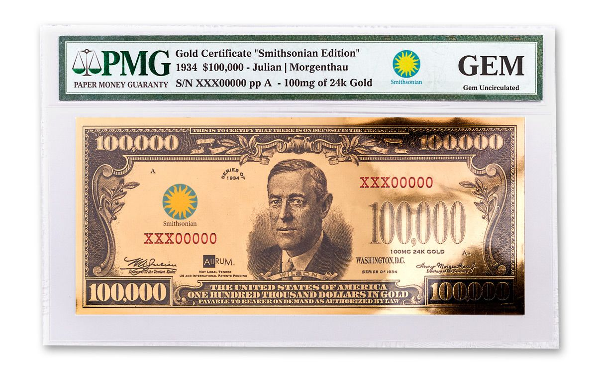 1934 100000 gold certificate currency strike pmg gem unc 1934 smithsonian 100000 dollar 24k gold certificate pmg gem xflitez Choice Image
