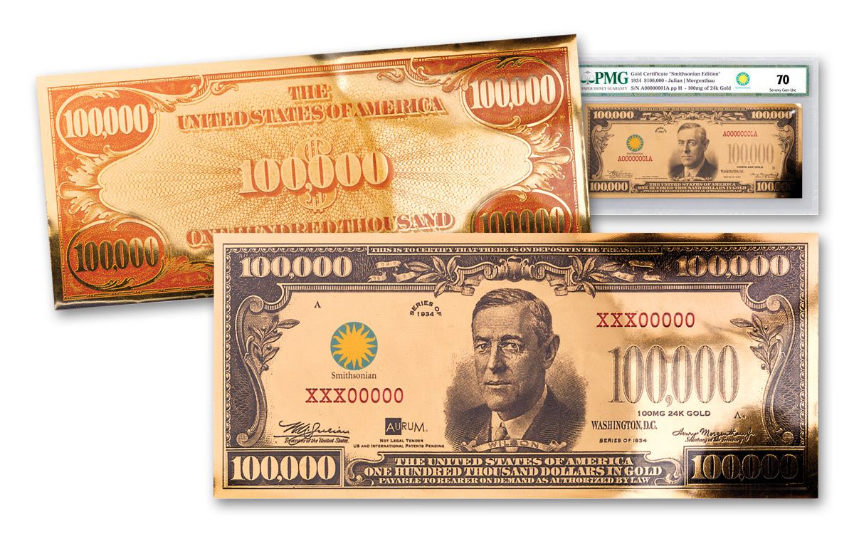 1934 100000 gold certificate currency strike pmg 70 govmint 1934 smithsonian 100000 dollar 24k gold certificate pmg 70 1betcityfo Gallery