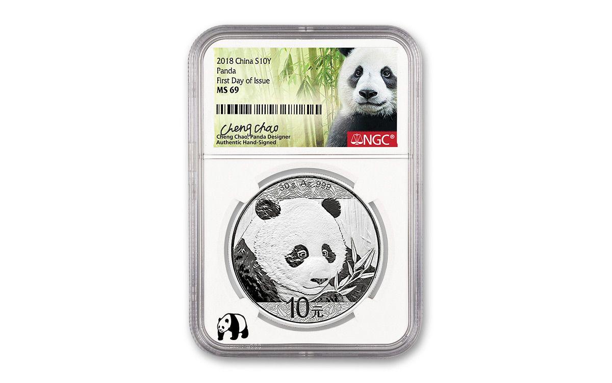 2018 China Prestige Gold Panda 3pc Set Ngc Ms70 Fdi Black
