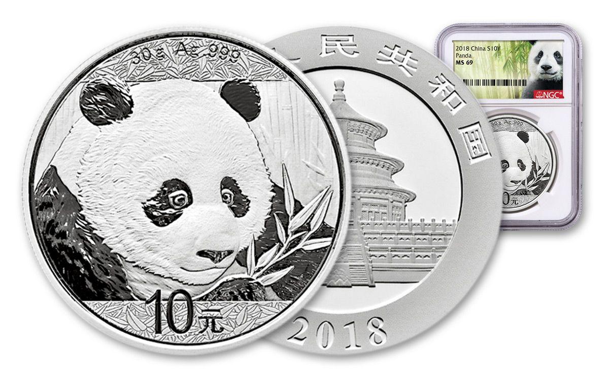 2018 China 10 Yuan 30 Gram Silver Panda Coin Ngc Ms69