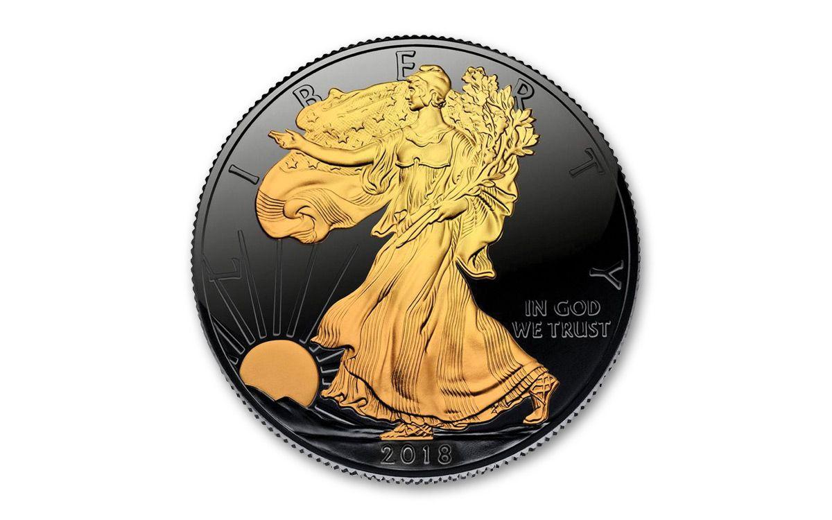 American Eagle Credit Card Login >> 2018 US 1-oz Silver Eagle Coin Ruthenium Gold Gilded BU ...
