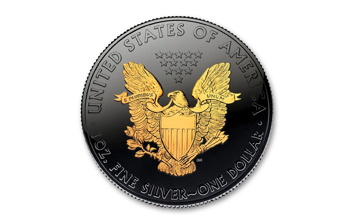 2018 Us 1 Oz Silver Eagle Coin Ruthenium Gold Gilded Bu