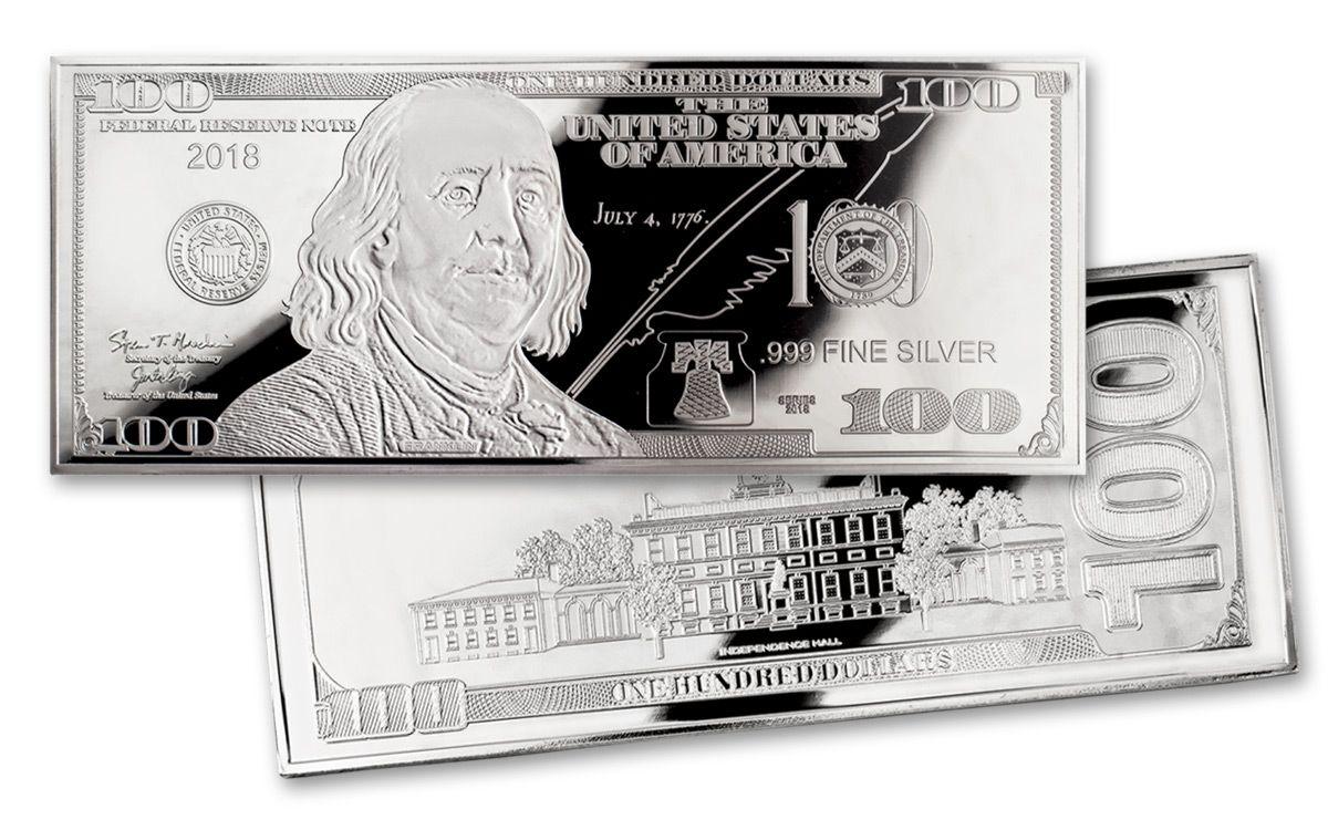 2018 4-oz Silver Franklin Currency Proof $100 Bill Design   GovMint.com