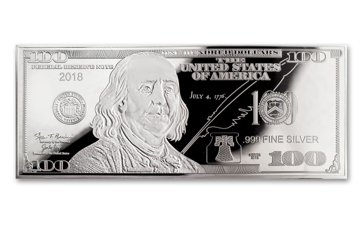 2018 1 Oz Silver Franklin Currency Proof 100 Bill Design