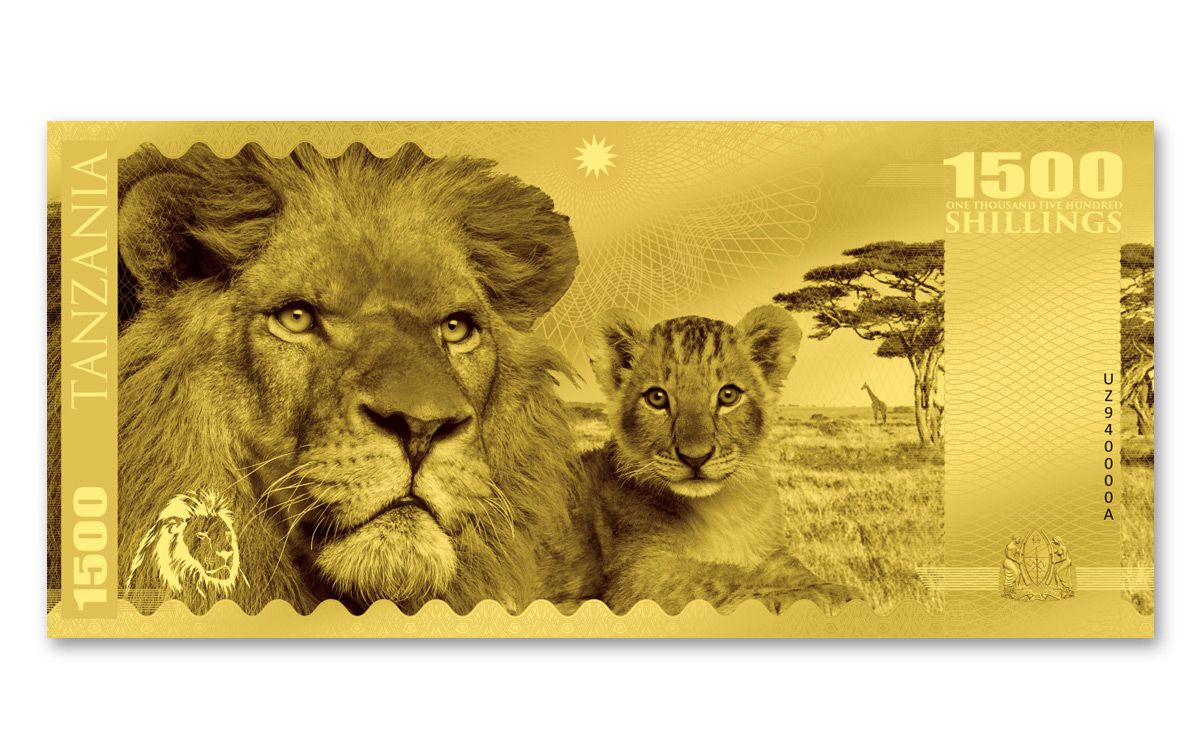 2018 Tanzania 1500 Shillings 1g Gold Big Five Lion Note