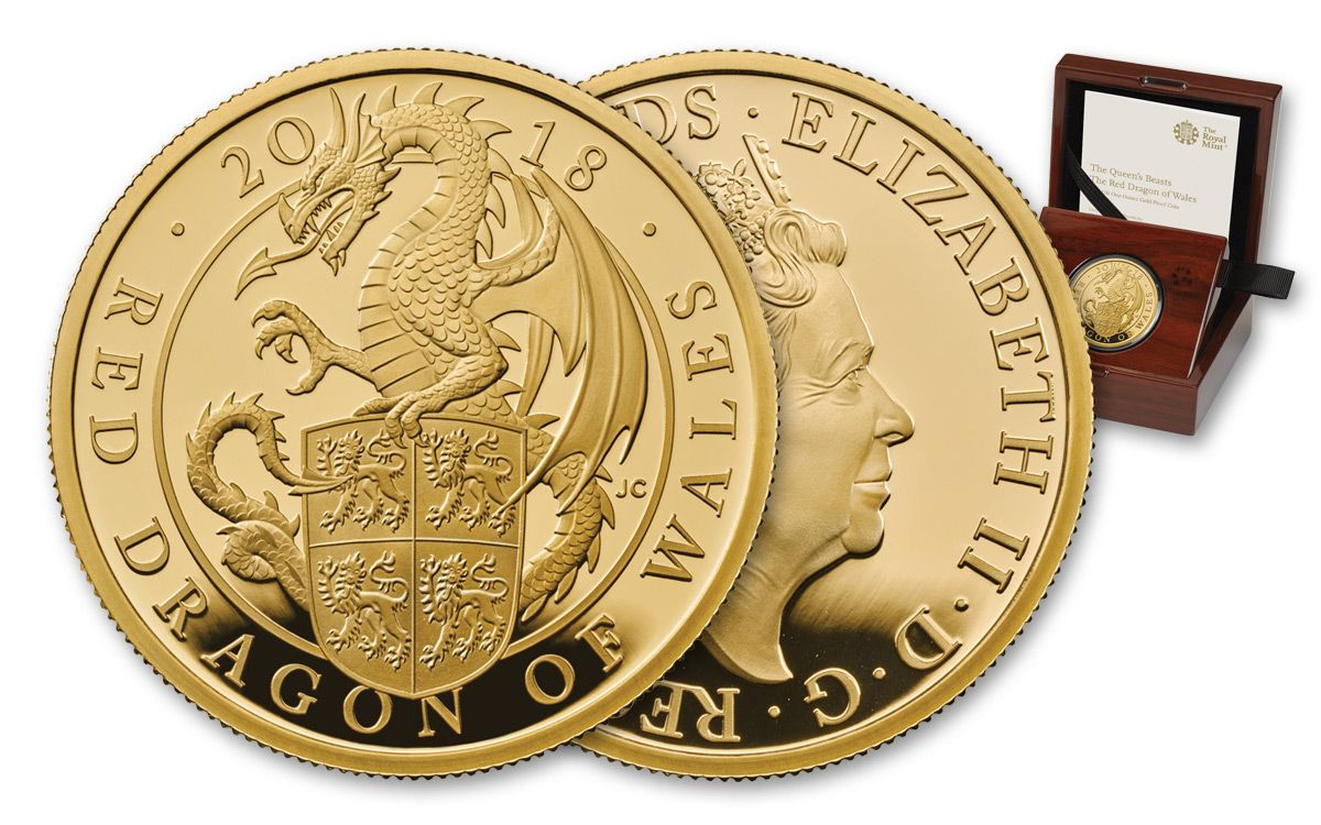 2018 Uk 1 Oz Gold Queen S Beasts Red Dragon Wales Proof