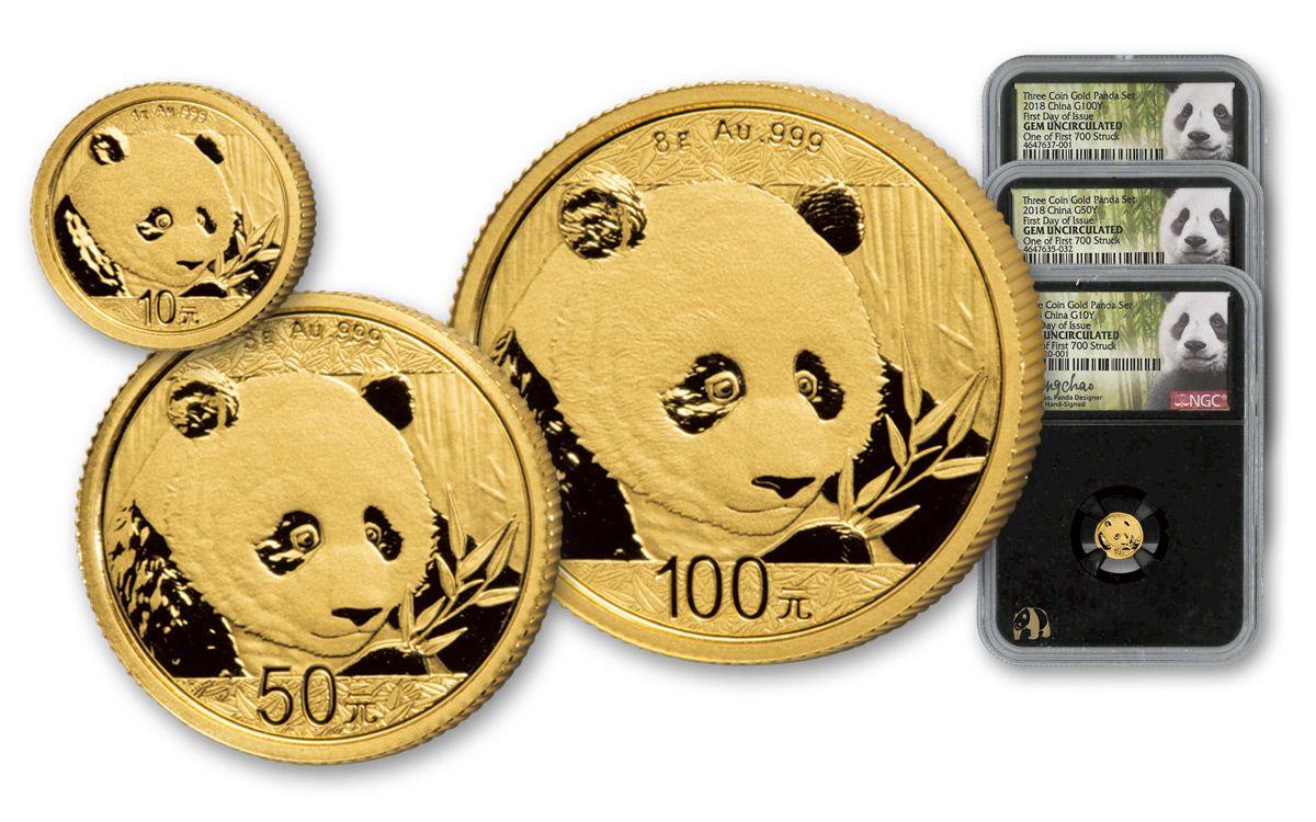 Fresh 2018 China Prestige Gold Panda 3pc Set NGC GEM BU FDI-Black Core  JL27