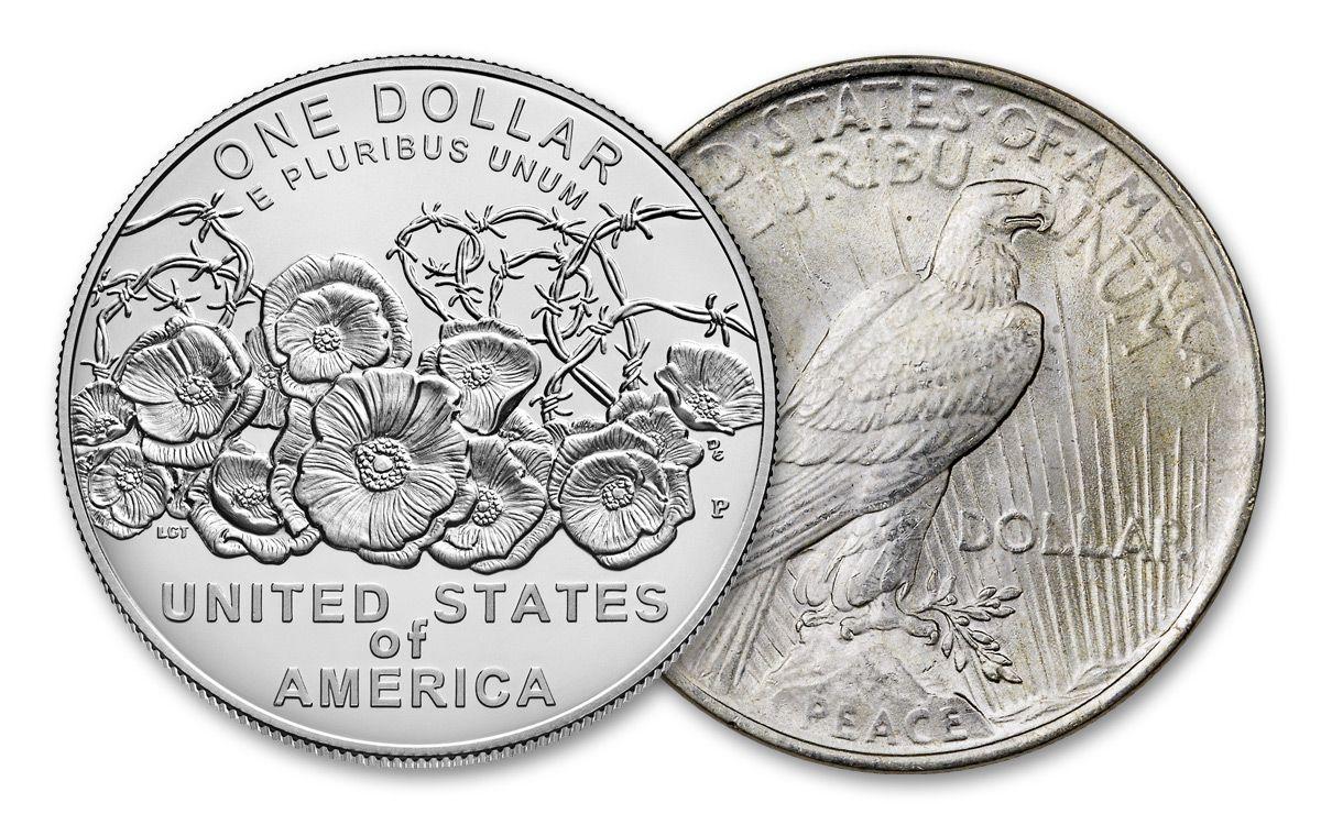 2018 Us Wwi Centennial 1922 Peace 2 Silver Dollar Set Bu