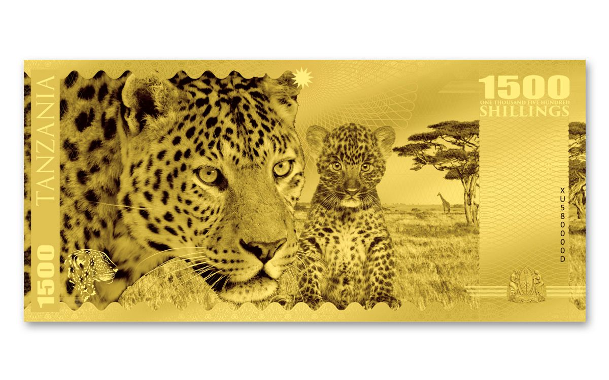 2018 Tanzania 1500 Shillings 1g Gold Big Five Note Set