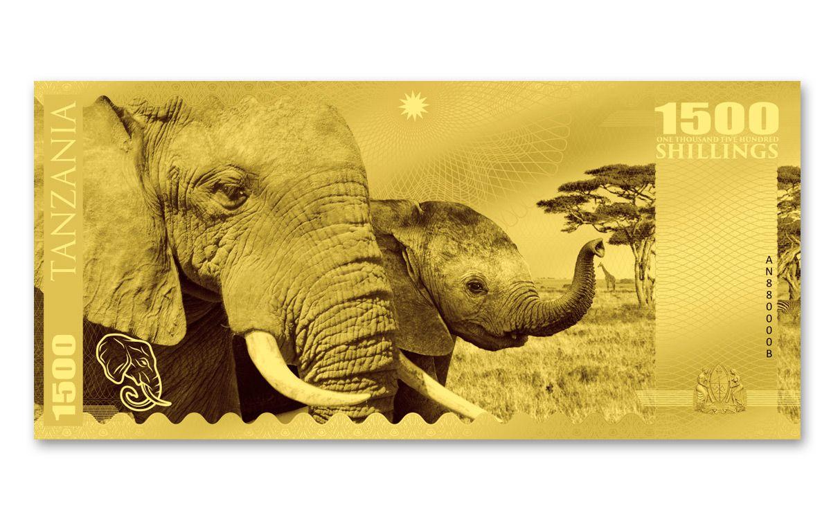2018 Tanzania 1500 Shillings 1g Gold Big Five Note Set
