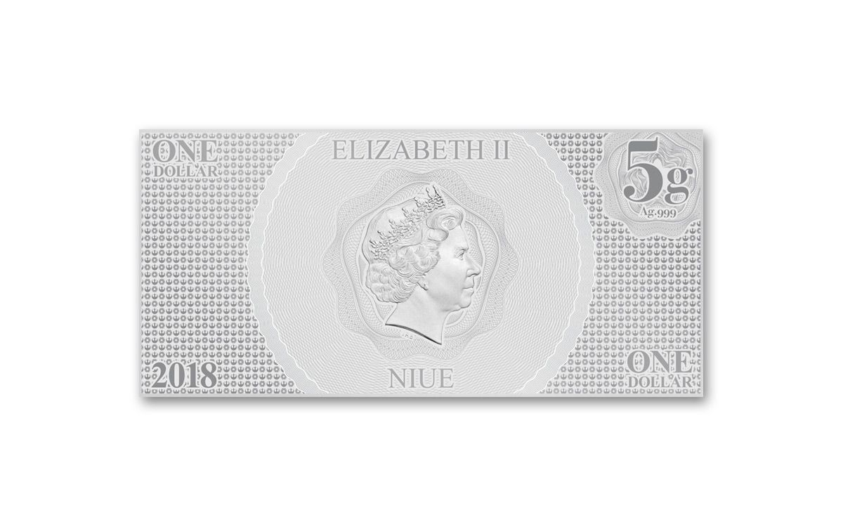 2018 Niue Five Gram Silver Luke Skywalker Coin Note