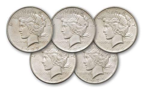 peace dollar denver mint collection au 5 pieces