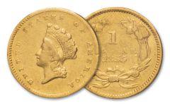 1854-1856 1 Dollar Gold Liberty Type II XF